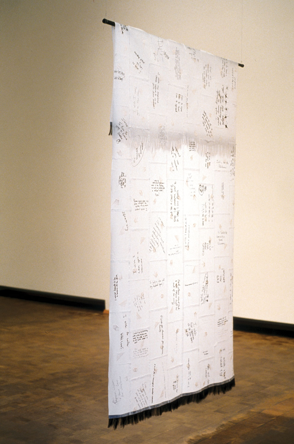 2004, 7'x4', Installation: wish paper, fabric, hair, rod, lighting