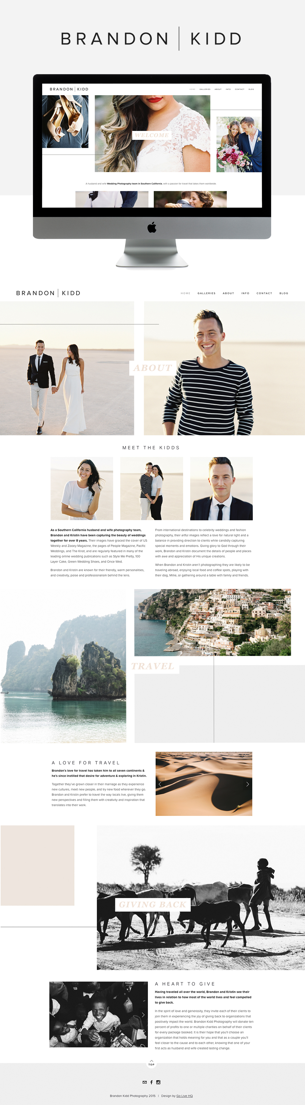 clean modern photography website design  |  by GOLIVEHQ.CO