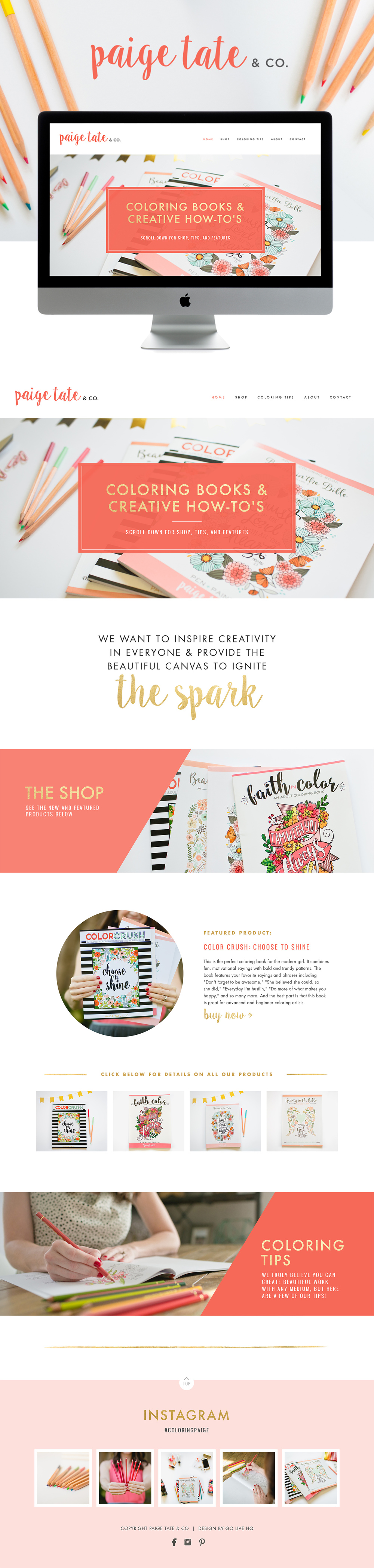 Kate Spade Inspired Squarespace Website Design | Designed by: Go Live HQ