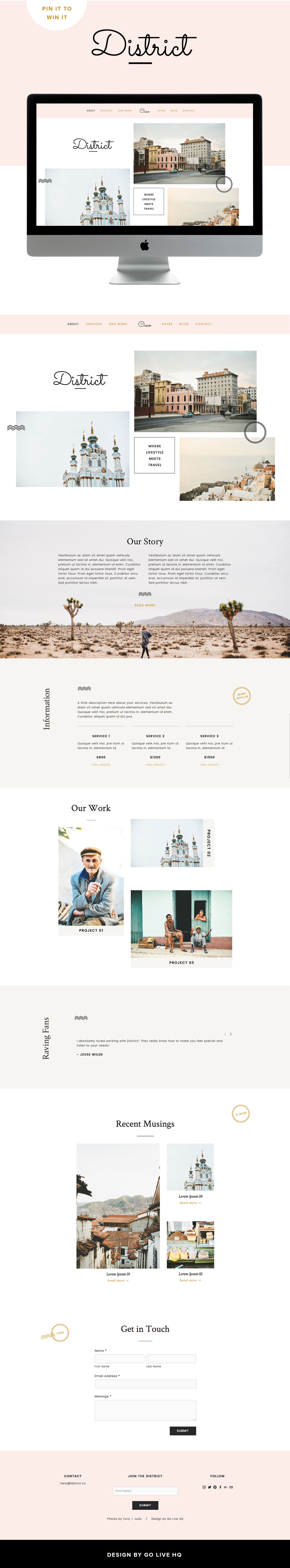 pretty modern custom Squarespace template