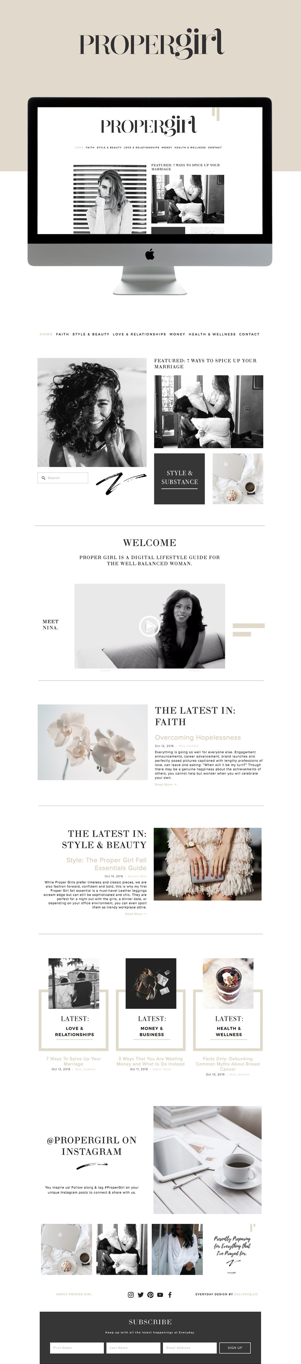 High end, editorial, magazine feel squarespace website design | designed by: golivehq.co