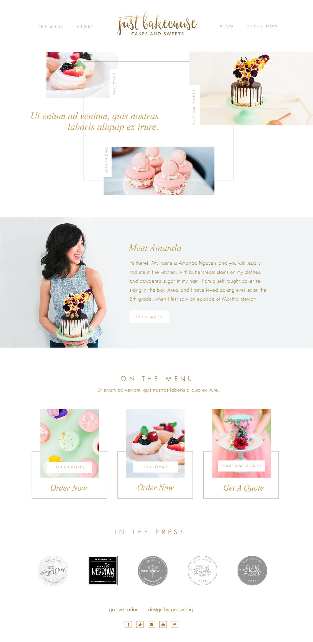 moderen bakery website by go live hq