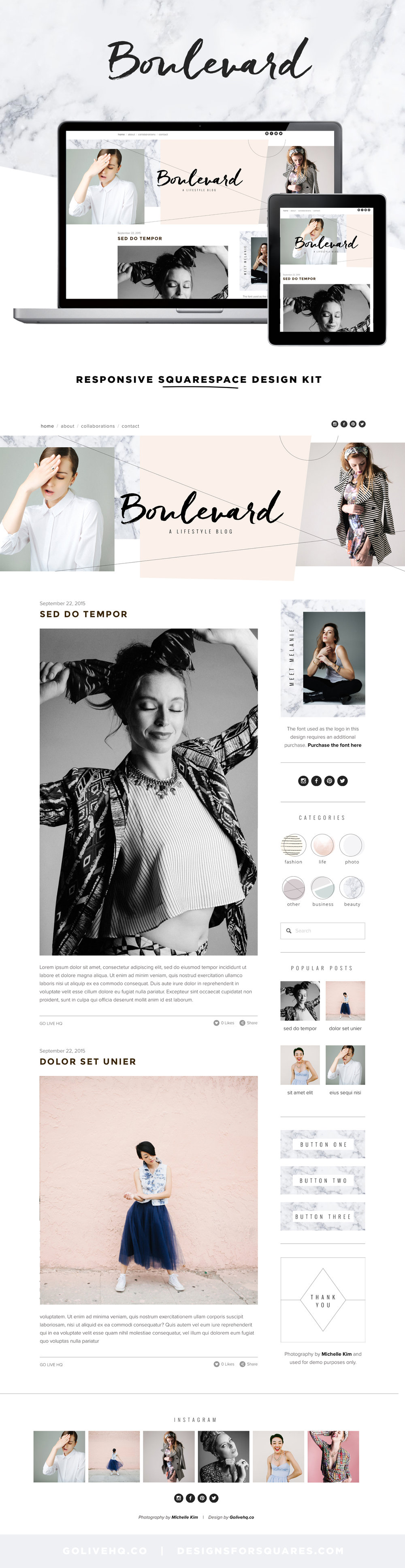 Best Squarespace Template for bloggers by Go Live Hq