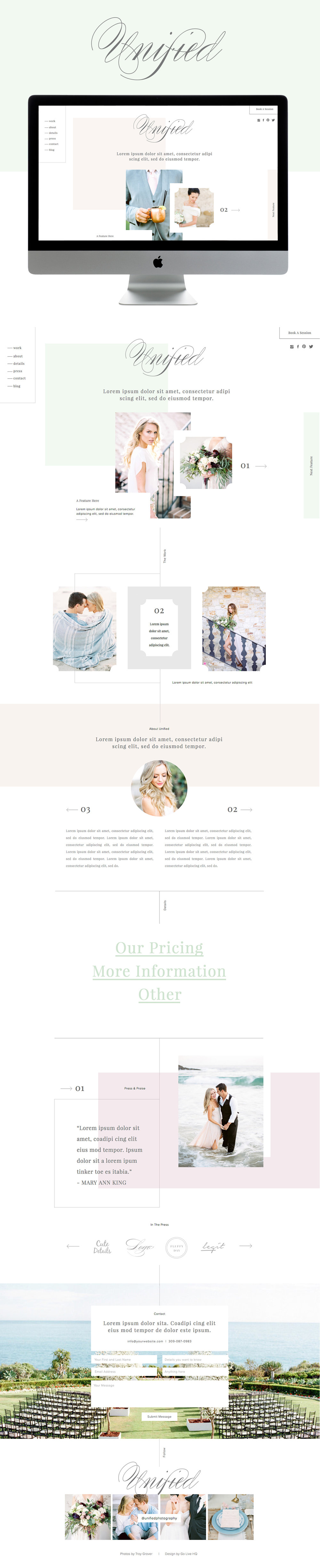 high end showit website theme for photographers by Go Live Hq