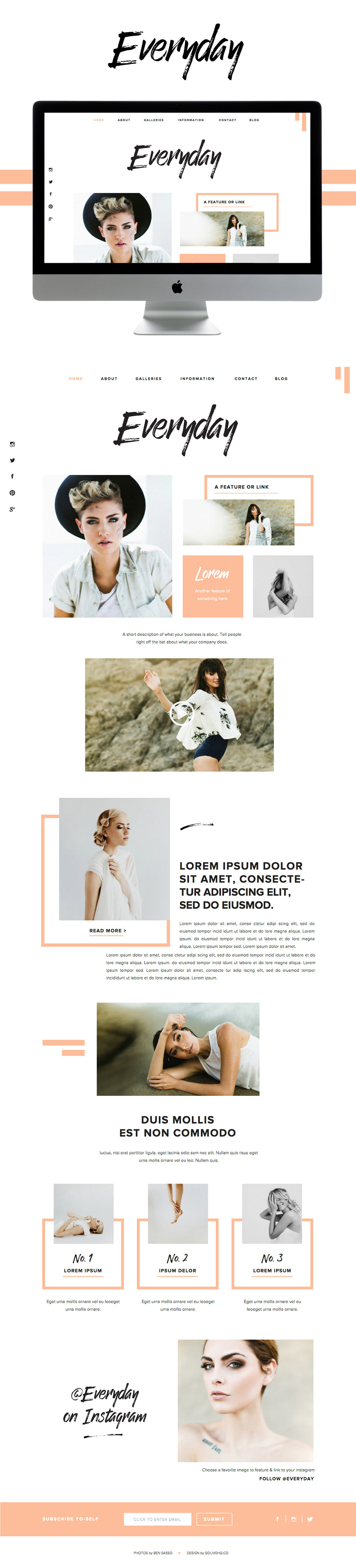 simple modern showit website theme by Go Live Hq