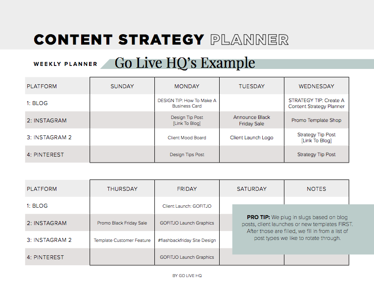 Sample Content Strategy Planner | By Go Live HQ