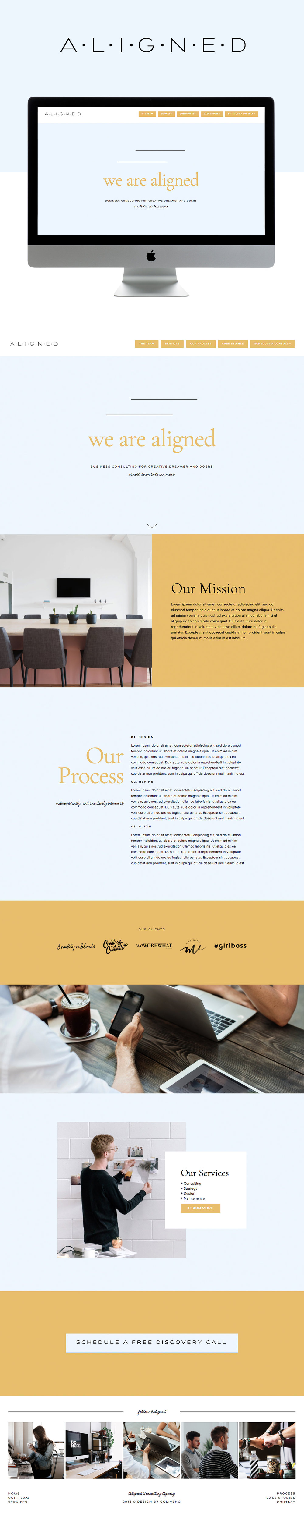Clean modern corporate website template for Squarespace by Go Live Hq
