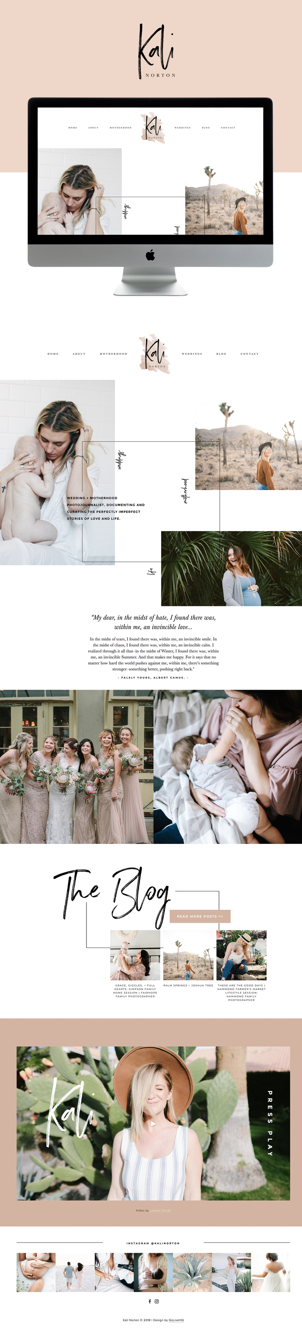 Website Design for Wedding & Lifestyle Photographer Kali Norton | Site Design by Go Live HQ