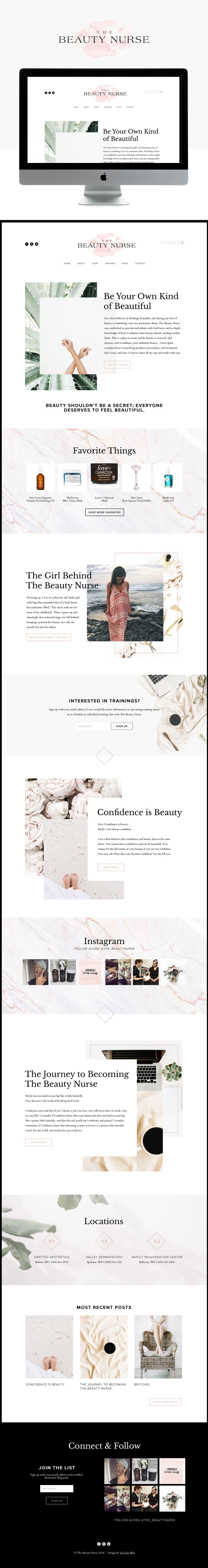 Creative & Feminine Website Design for Beauty Nurse | Website Design by Go Live HQ