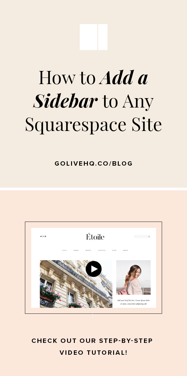 How To Add A Sidebar To Any Squarespace Site | By Go Live HQ