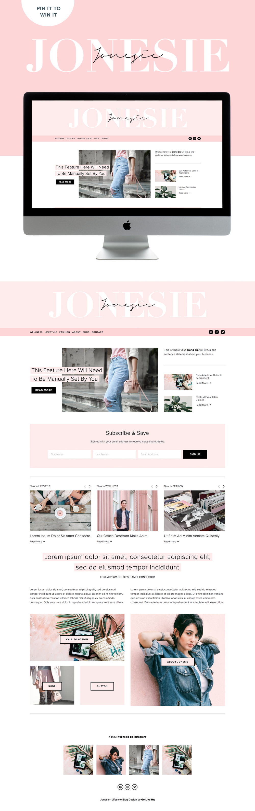 modern and feminine Squarespace template for lifestyle bloggers | website design By Go Live HQ
