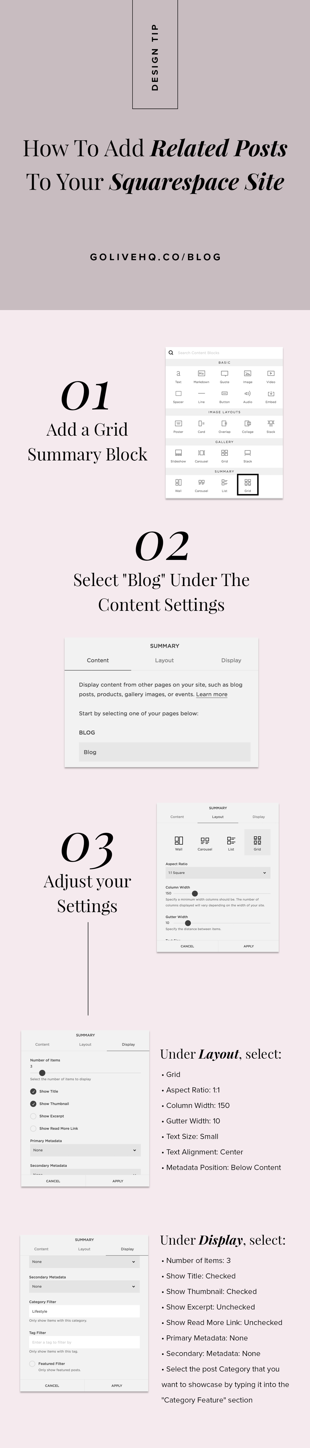 How to add related posts to your squarespace site | By Go Live HQ