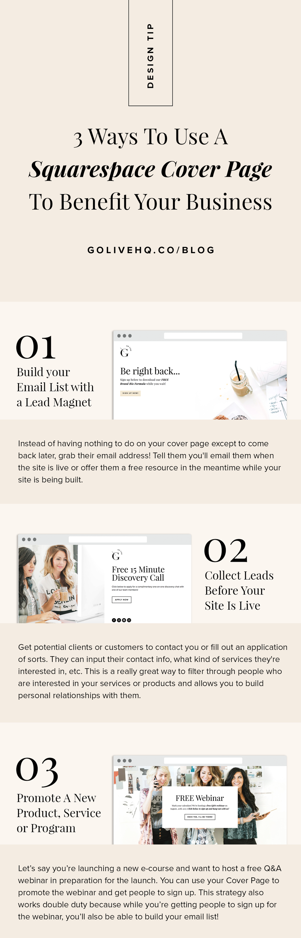 3 Ways To Use A Squarespace Cover Page To Benefit Your Business | By Go Live HQ