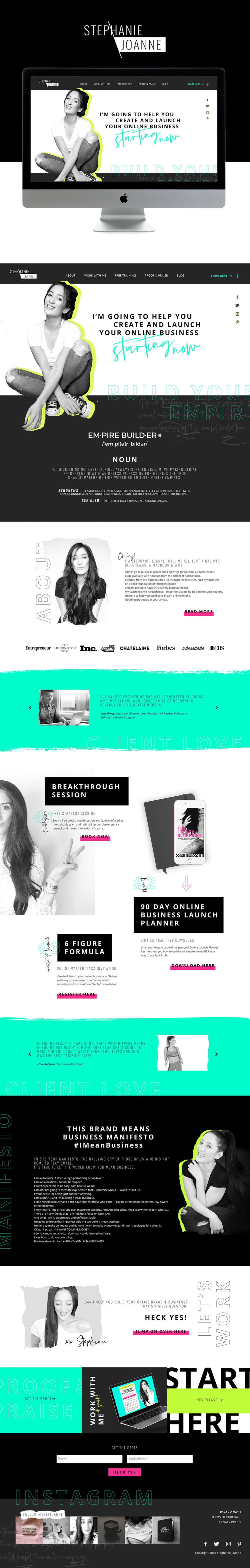 Bold, Unique and High-End Web Design For Business Coach Stephanie Joanne | Design By Go Live HQ