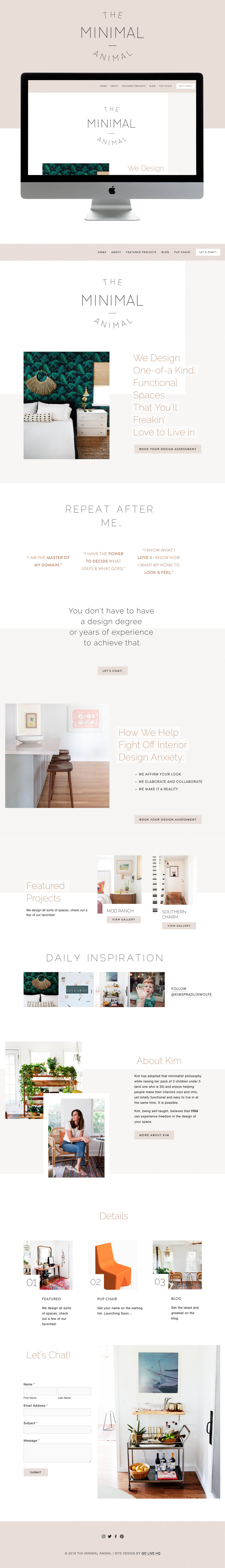 Unique, Fun, Minimal Website Design for Interior Designer | Go Live HQ