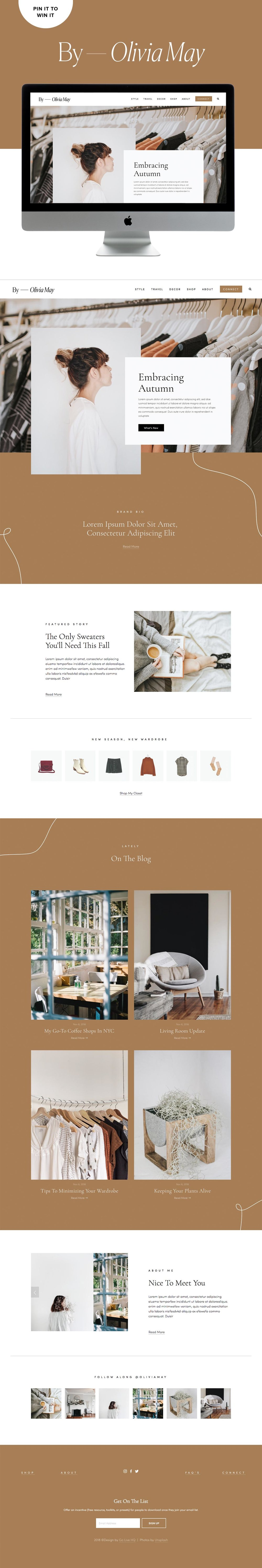 Minimal, Stylish, Modern Website Template for Style Bloggers | Go Live HQ