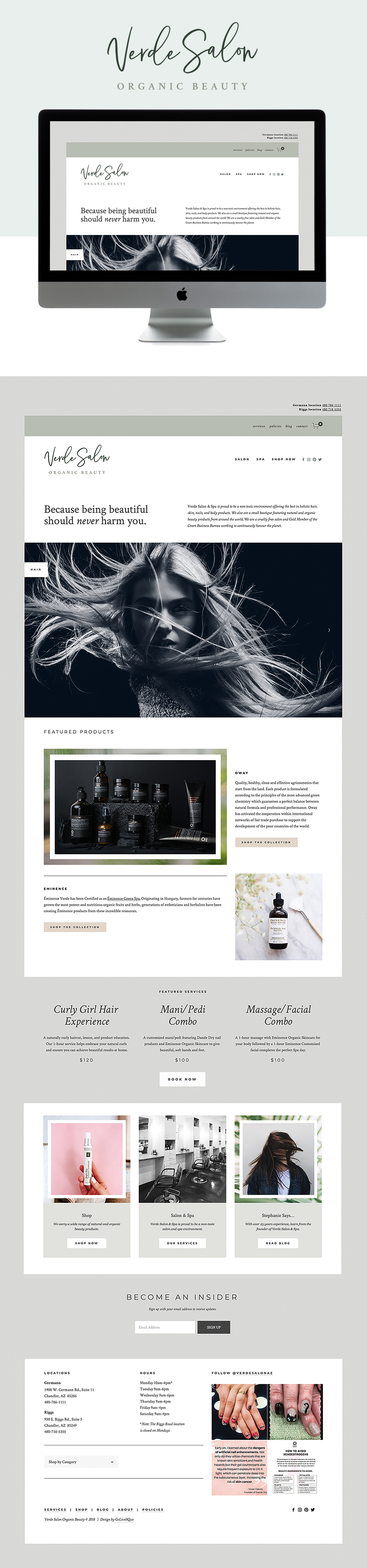 Clean, Simple, and Chic Website for Organic Salon & Spa | Go Live HQ