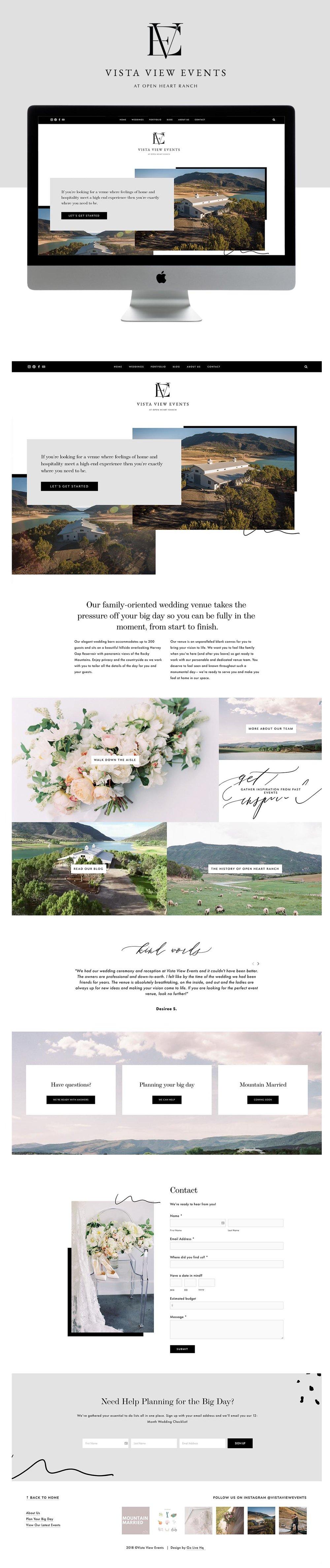 Modern, Elegant Website Design for Mountain Wedding Venue  | Design by Go Live HQ