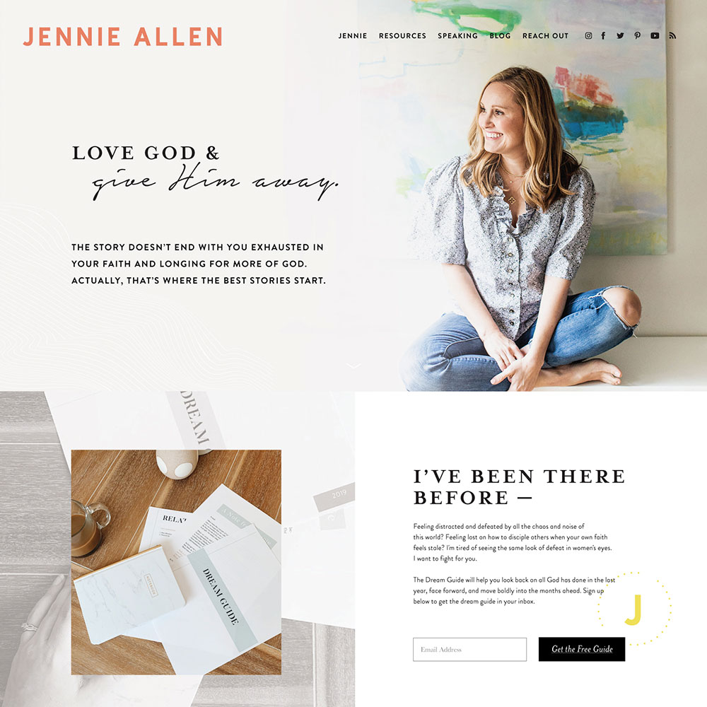 Modern, upbeat, unique website design for Christian Author and Speaker | Design by Go Live HQ