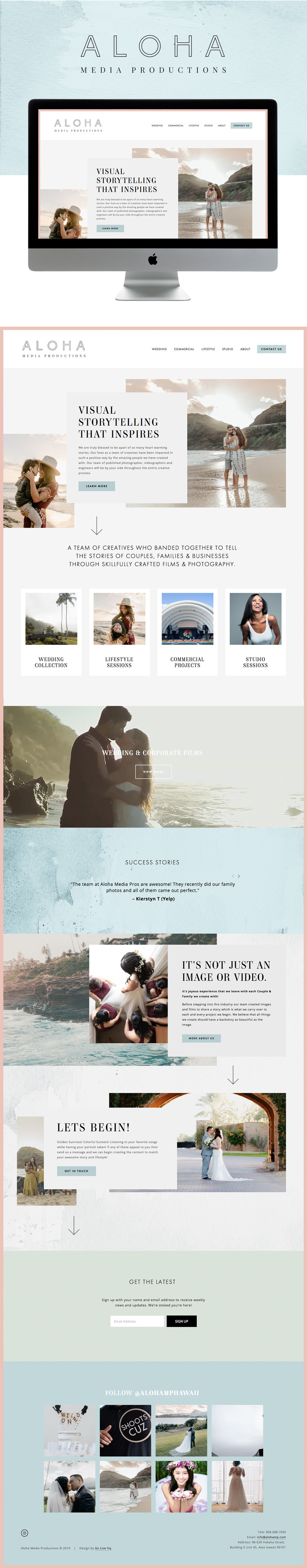 Colorful, Fun, and Modern Website Design for Hawaiian Photography / Cinematography Company | Design by Go Live HQ