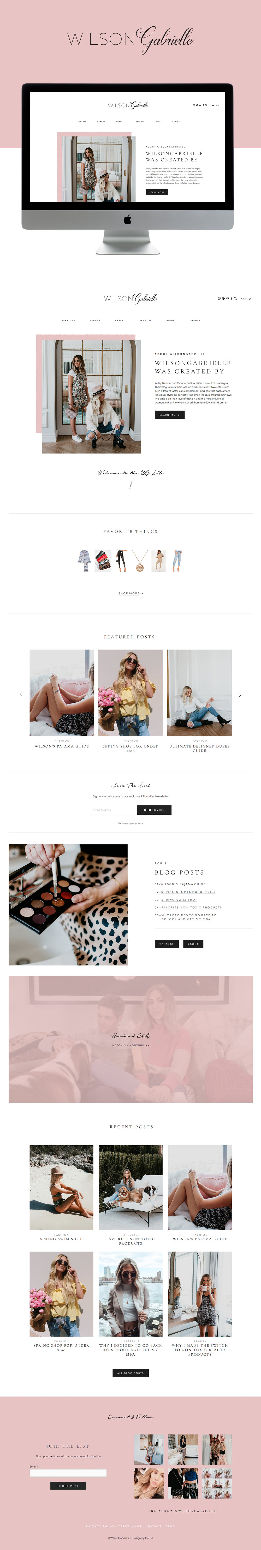 Editorial, clean, feminine Squarespace Website Design For Lifestyle Blogger | By GoLive