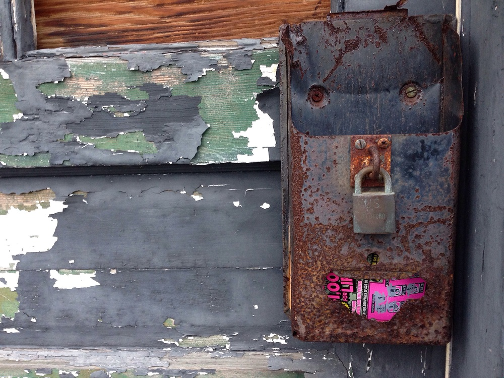 the bright pink contrast to the weathered door and rusted metal is striking.