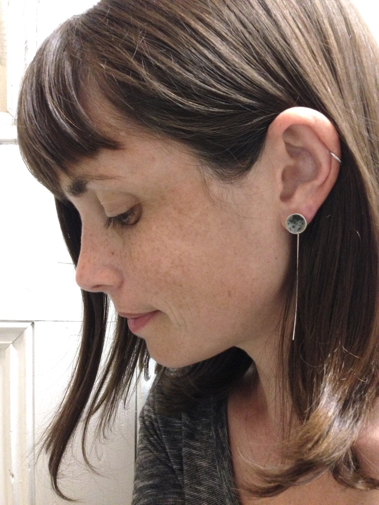 this earring style had long been retired. a good customer asked if I would make her a pair and I couldn't resist. How lucky am I that she trusted me to experiment with my new palette?