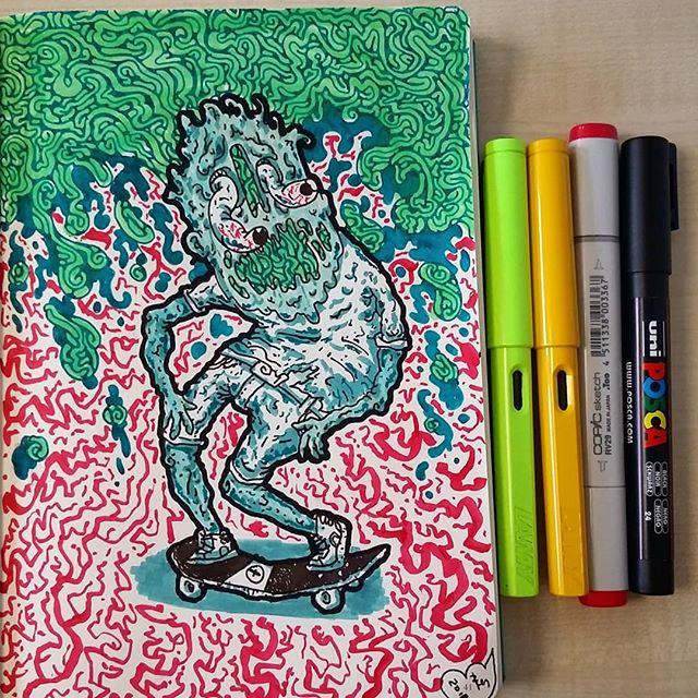 #lamy #leuchtturm1917 #copicmarkers #poscapens #ink #sketchbook #doodle #skate #bloodshot #slime
