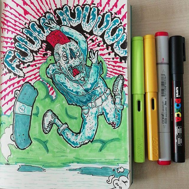 #lamy #leuchtturm1917 #copicmarkers #posca #skate #zombie #sketchbook #doodle #ink