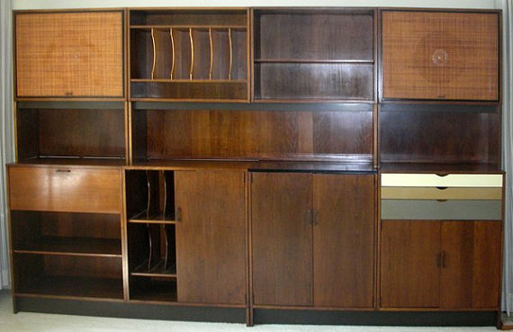 Paul McCobb Wall Unit Shelving Desk Storage File Entertainment Stereo  Speakers