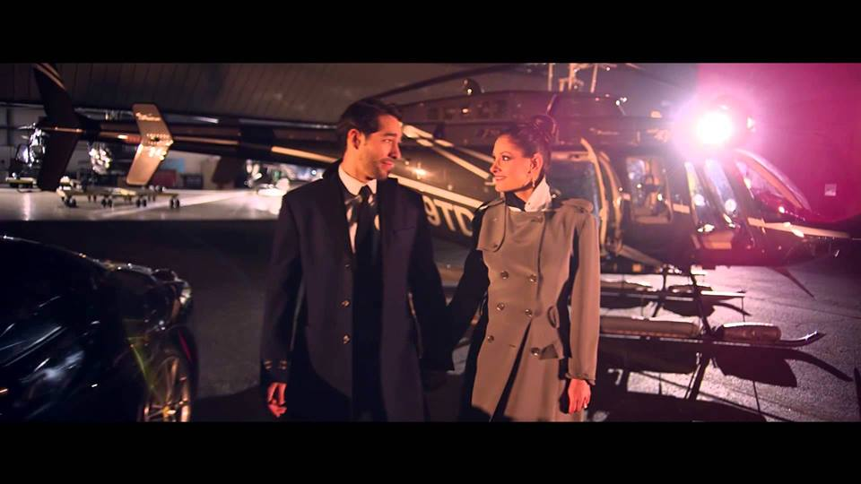 Lead actors Shane R Duffy and Jena Finn on set with a helicopter! Woah!