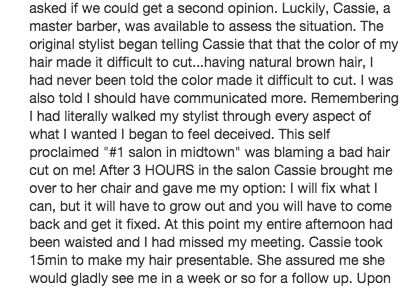 Yelp Best Worst Review Barber Her Chair His Hair NYC