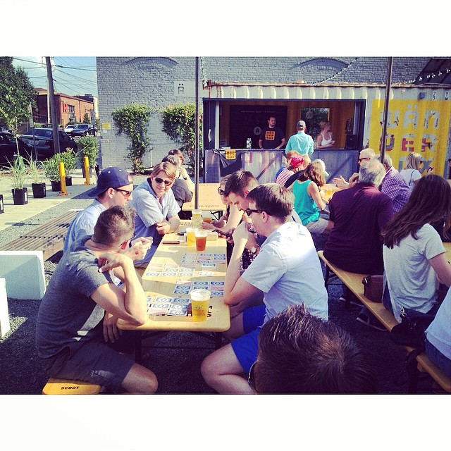 Multiple card games happening down here at the box! What an evening...