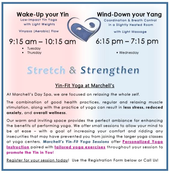 Please complete the Registration Form below to select your Yin-Fit Yoga Session. If you are seeking to book a session that is not for the current week, please indicate so in the Notes or Questions Section of the Form. We are available by phone or text to inquire about our yoga sessions, you can also contact us by email by visiting the Contact Us page on our website. When selecting the Balance it All option for your session, you will be contacted to confirm the desired length of time for your Relaxation Massage. We are here to help you Relax! and to assist with moderating your Yin & Yang!