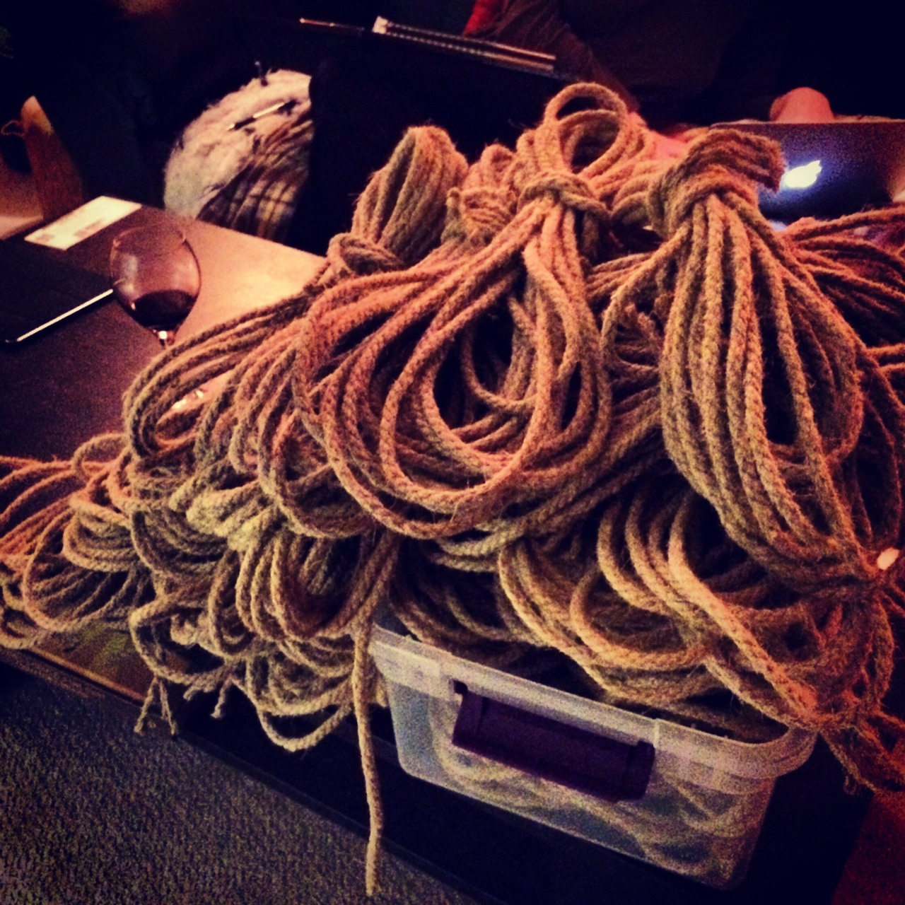 abmann :     Broke something like 600 feet of rope last night.  That's the last of the 30s to break. Now to dye them.   Still need to cut 108 15ft bundles to process but let's get the 30s done first.   Then maybe take a weekend off?  Hah, no. I enjoy this too much. Shibari rope for everyone!   (The wine was a 2011 Argentine Malbec.)