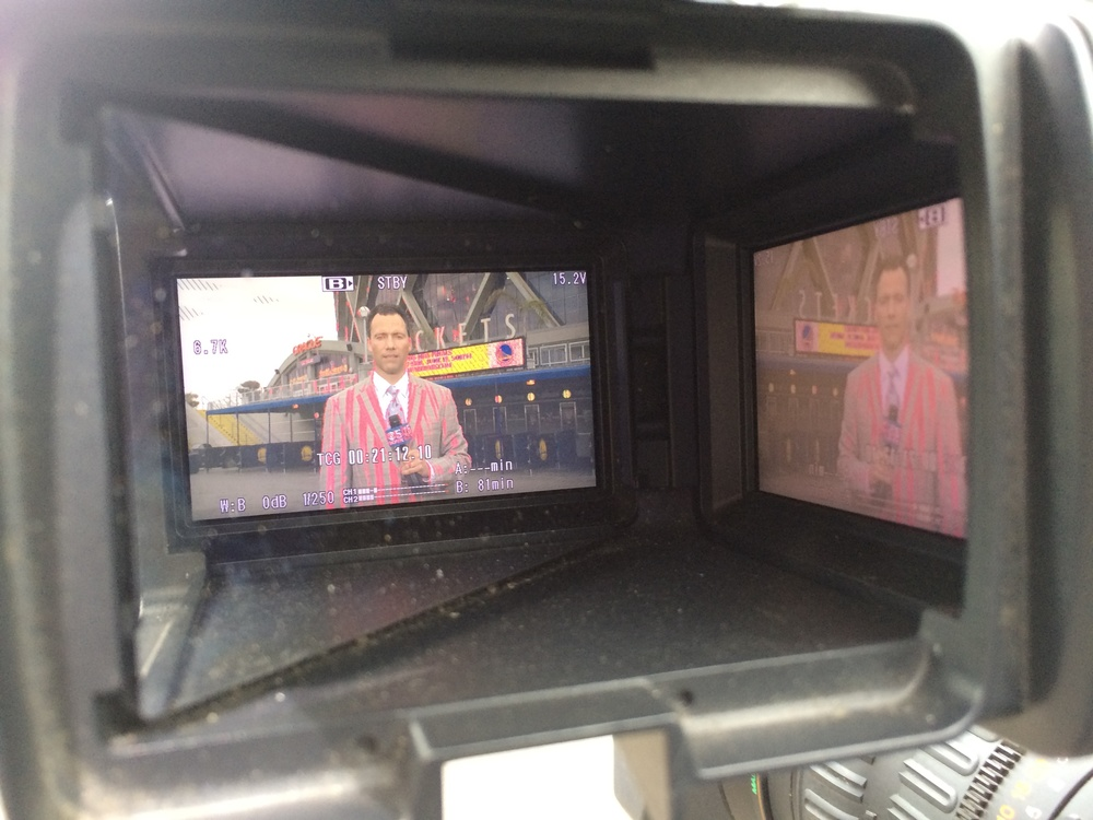 Through the viewfinder, it looks as though I go to the same haberdasher as Craig Sager.