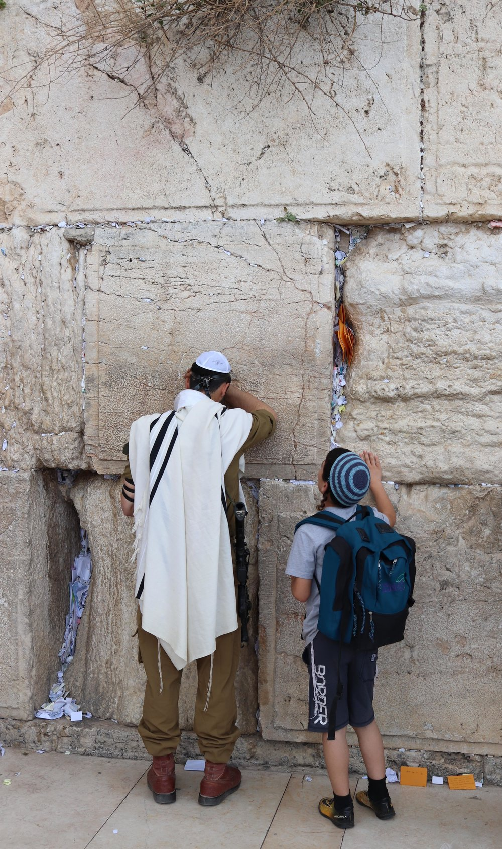 The big deal for Jews is the Western Wall, one of the walls fortifying the man-made Temple Mount. This is where Jews came for centuries to lament the loss of their temple at the top of the hill. Now, anyone can come to pray.
