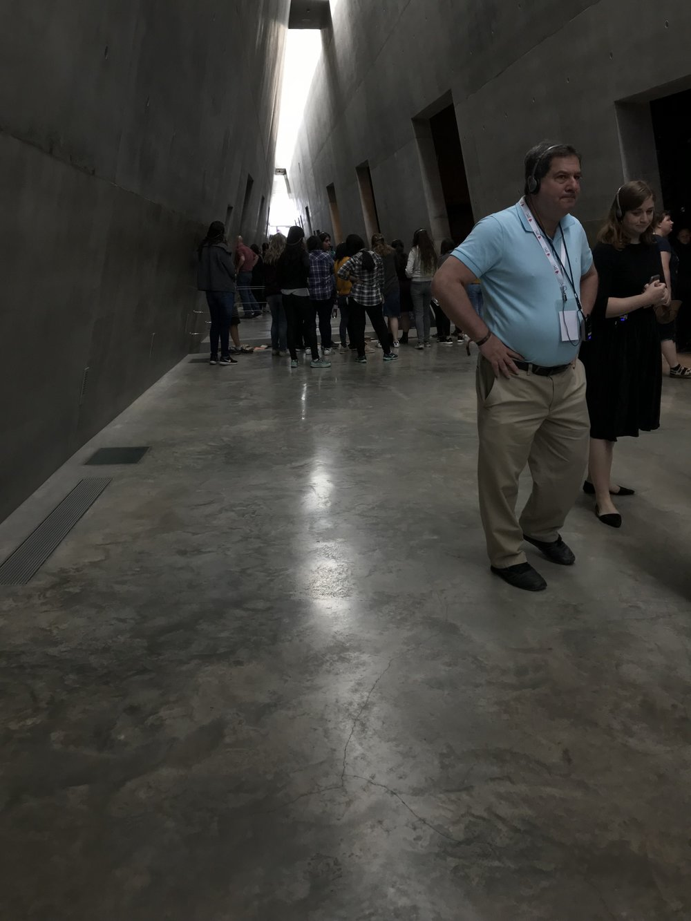 The museum is designed so you start at the closed, darkened end, but progress toward the light.