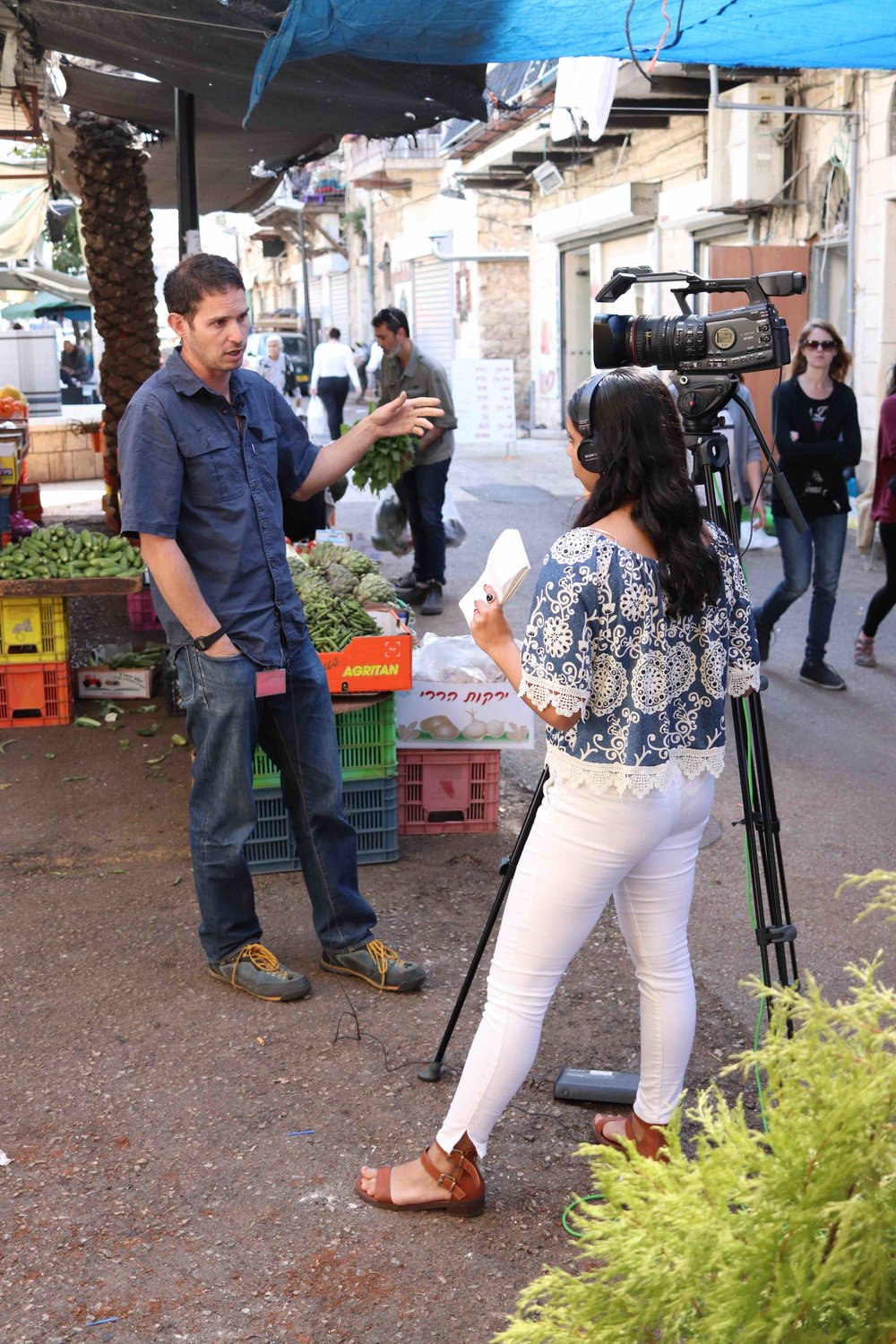 Newhouse broadcast student Rashika Jaipuriar conducts an interview in Haifa.
