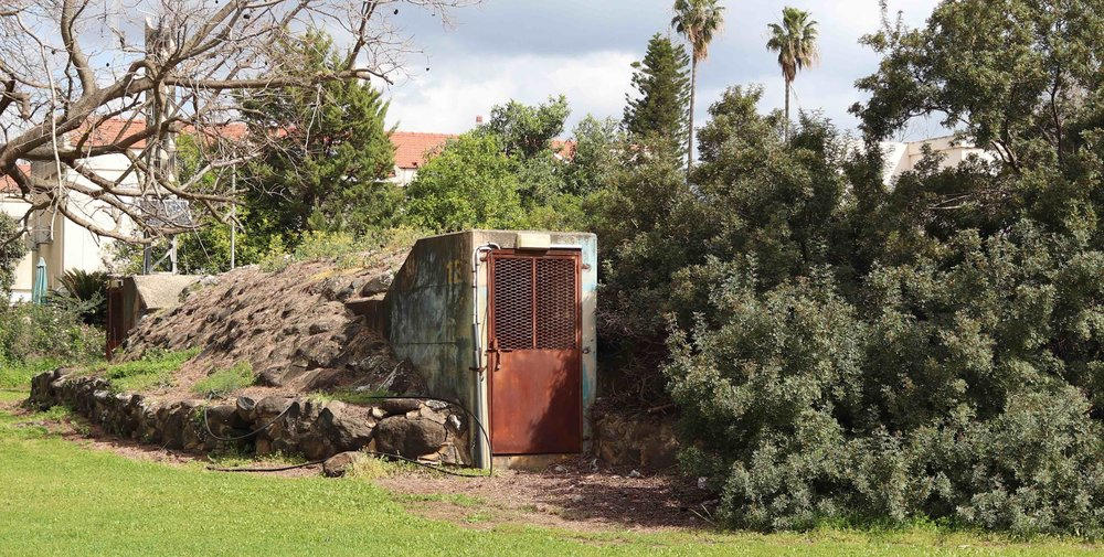 Bomb shelter doorway at Kibbutz Dafna.