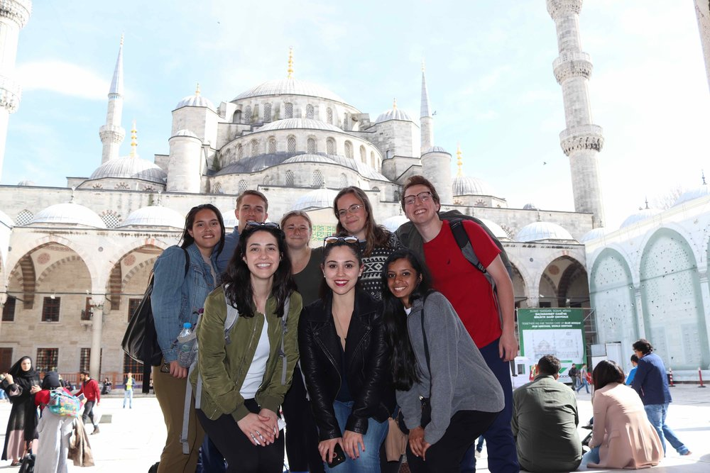 Newhouse students at the  Blue Mosque  in Istanbul. Closed for construction inside, but pretty views outside.