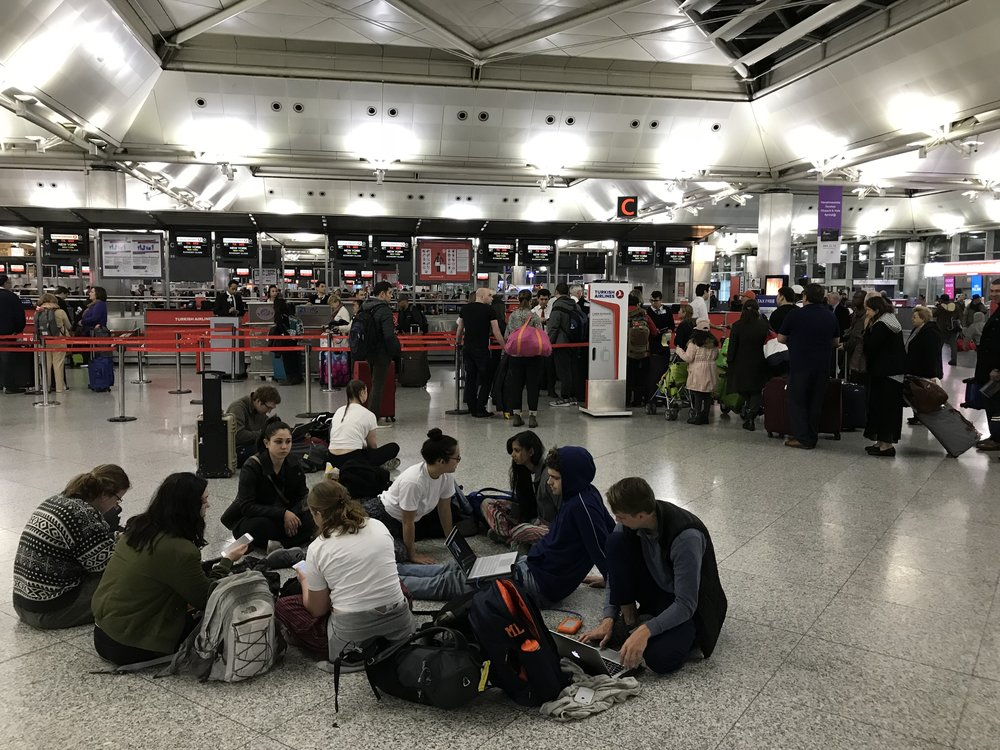 Newhouse students gathered on the floor at Istanbul's airport waiting for a flight home to Syracuse.