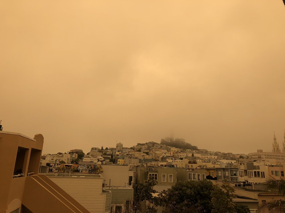 Coit Tower shrouded by fog, yellowed by the fires to the north of San Francisco.