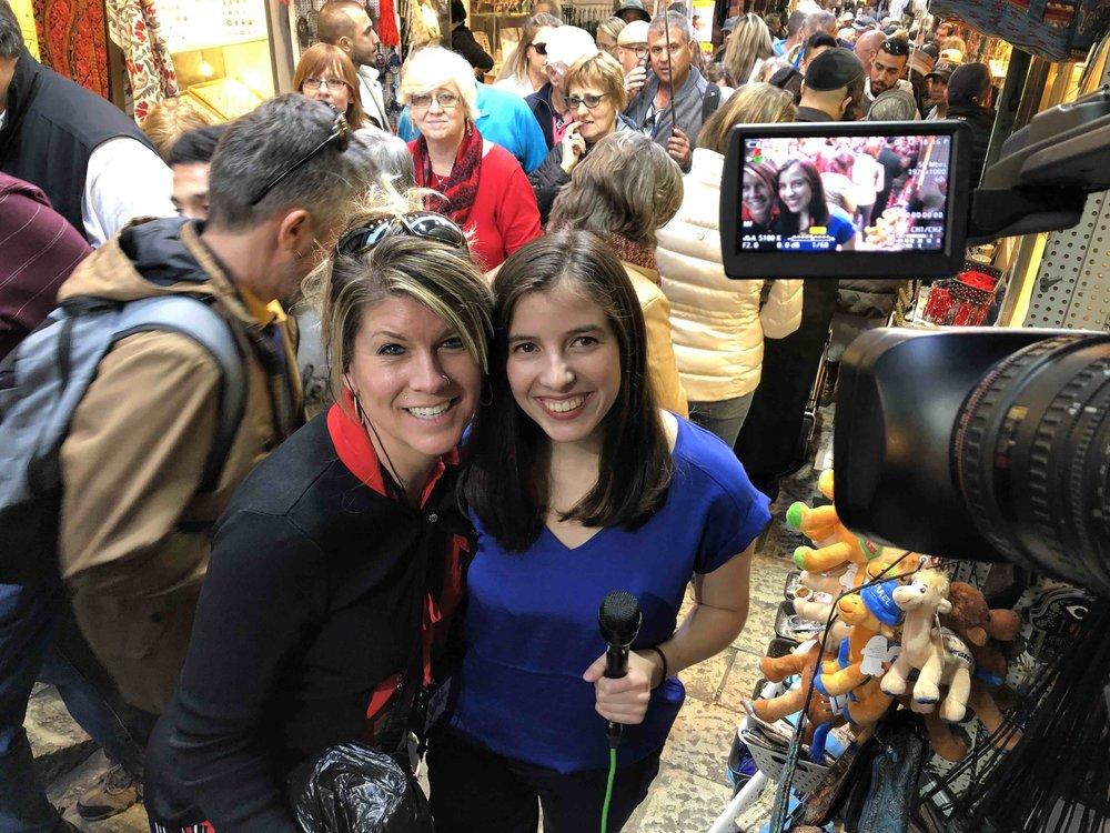 Jacqueline Smart, of Cicero, N.Y., and Sabrina Maggiore, Syracuse University student, meet in Jerusalem.