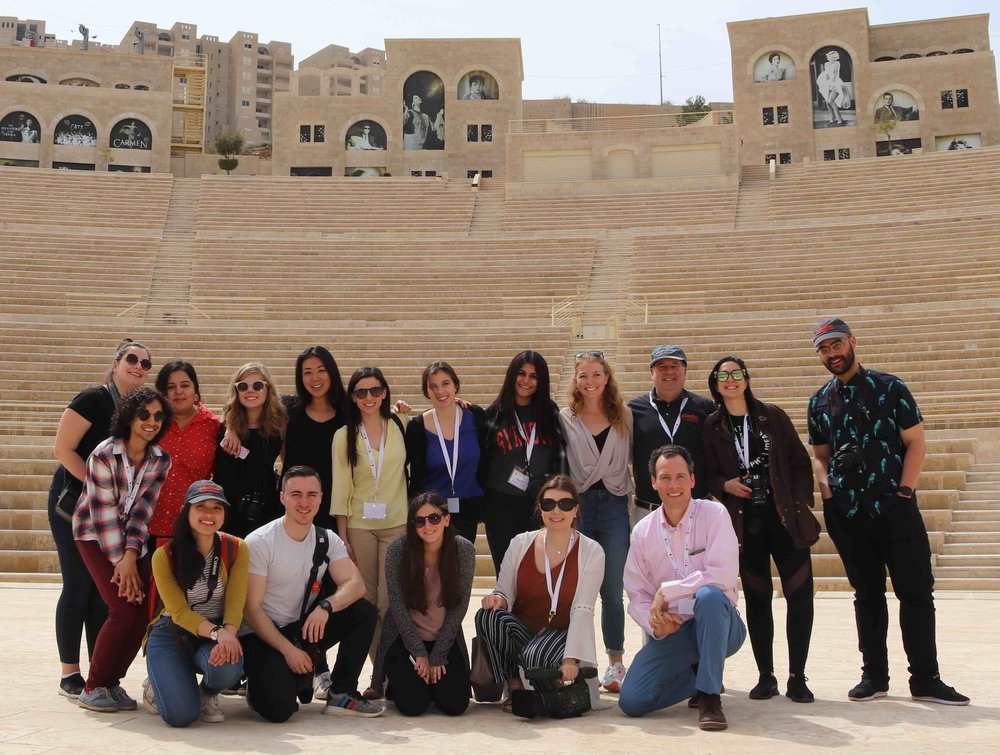 The #newhouseinisrael crew at the amphitheater at Rawabi.