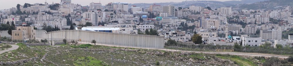 Barrier wall seen looking south from Jerusalem towards Bethlehem