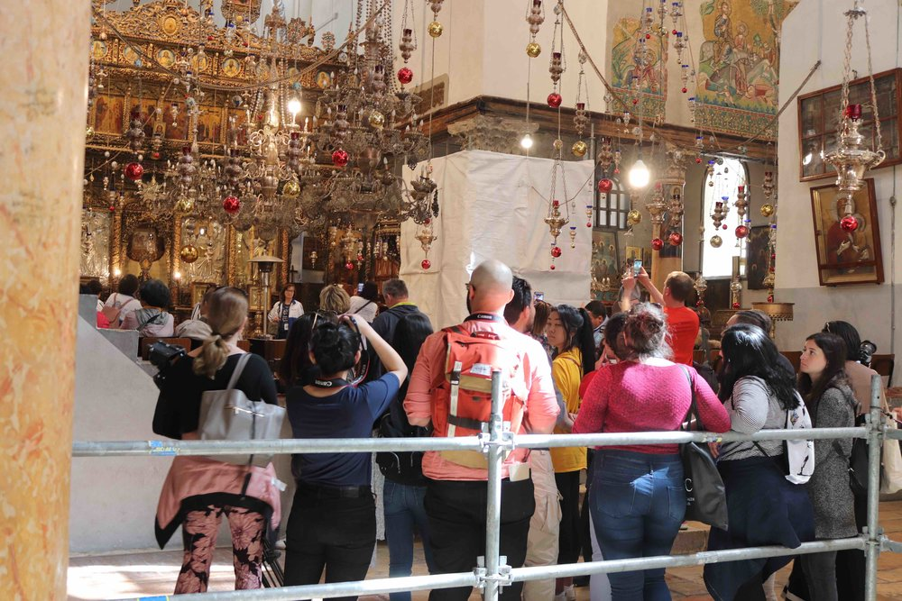 Students inside the church, along with hundreds of other visitors.