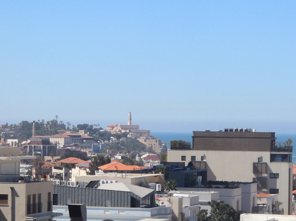 Looking out at Jaffa, the old part of Tel Aviv. This view resembles Coit Tower in San Francisco.