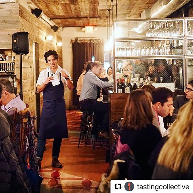 Hope you're ready for night 2 of @tastingcollective at @hechoendumbo ! Here's a shot of our Chef Danny Mena, speaking about the dishes he's prepared for us like Pulpo Rojo (roasted octopus with tomatillo almond- marmalade and potatoes) or Mexican-Style Fried Chicken. Doors open at 7:15, see you there!