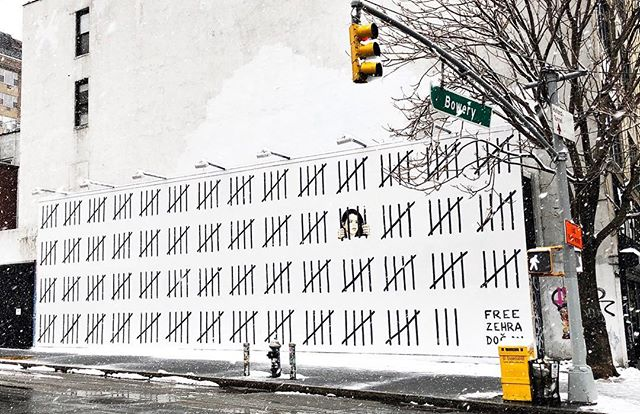 Make sure you check out @banksy's newest addition to Bowery on your way in to Happy Hour! #FreeZehraDogan